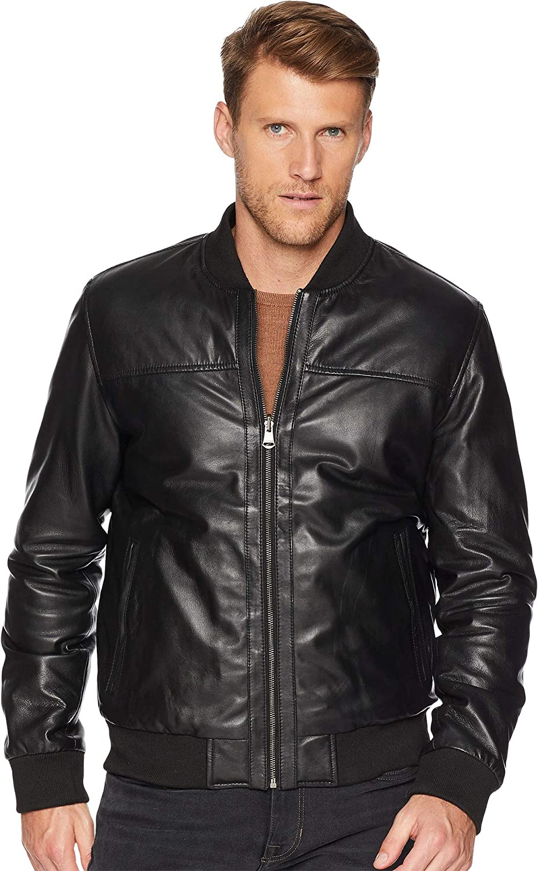8d8c420dd Cole Haan Men's Leather Reversible Varsity Jacket Black/Navy Small ...
