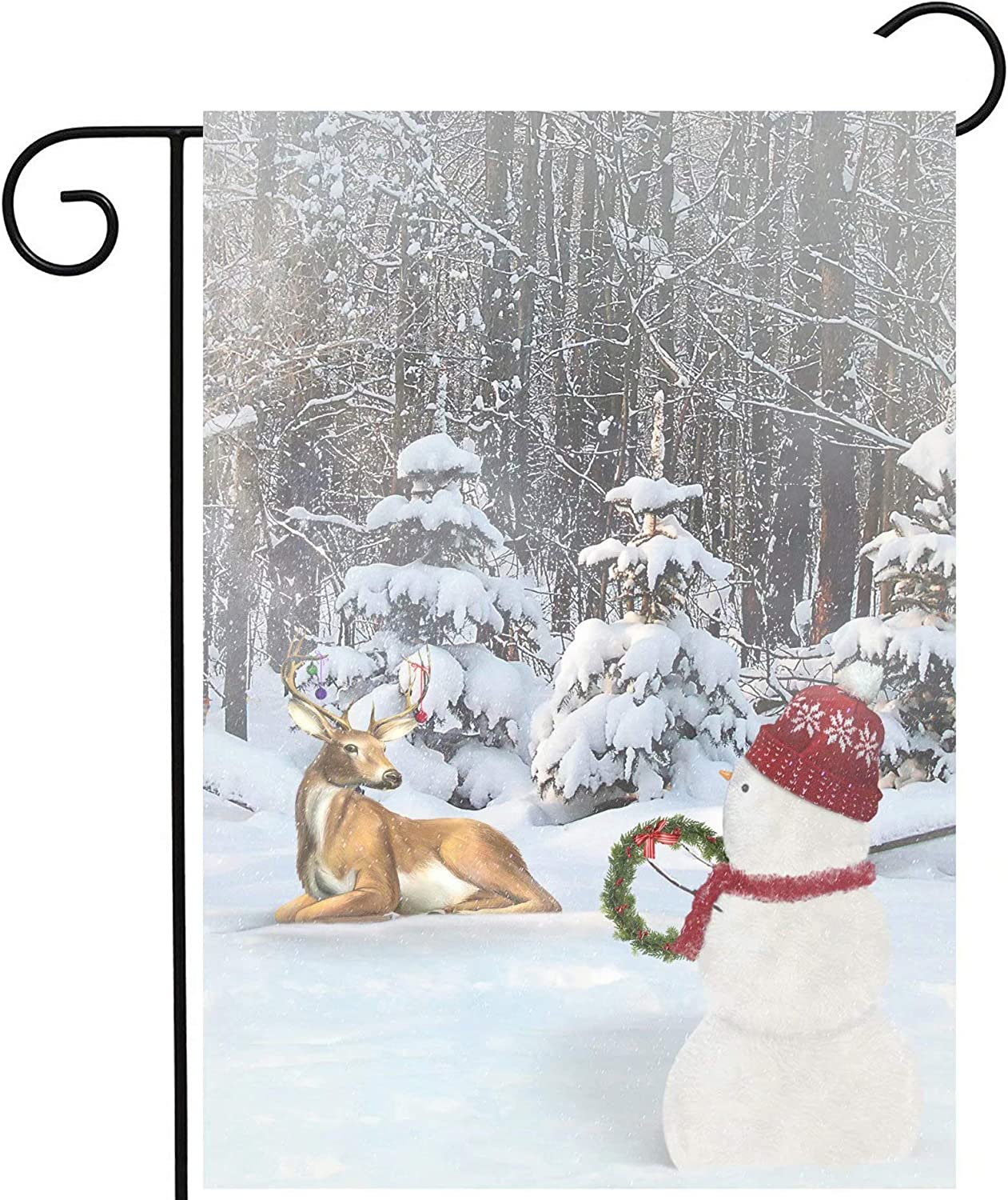 Bycocby Christmas Winter Snowman and Deer with Ornaments in Snow Forest Garden Yard Flag 12