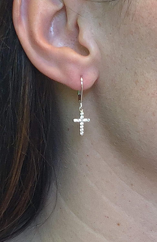 925 Solid Sterling Silver Cubic Zirconia Dangling Bling Cross Earrings – Small CZ Dangle Cross Jewelry