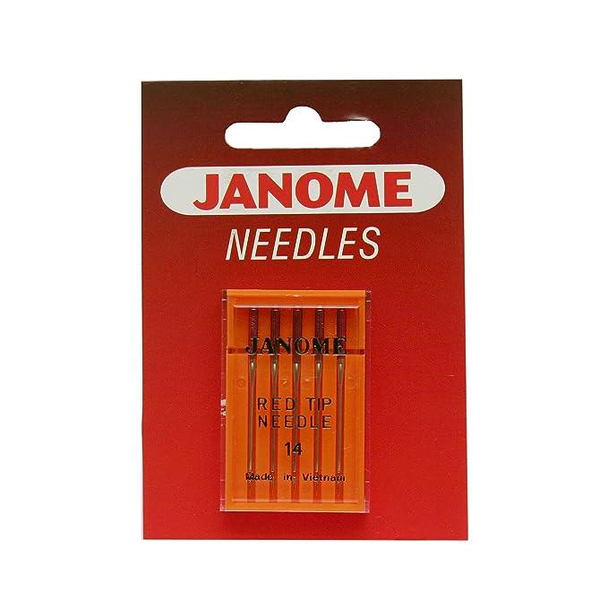 Amazon.com: Janome Rojo Punta 5 aguja Pack Tamaño 14: Home ...