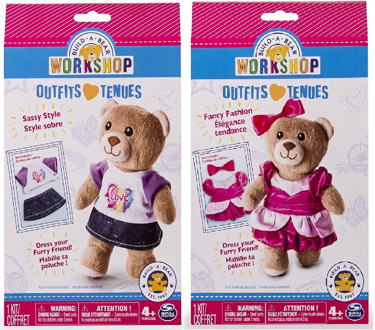 Amazon.com: Build A Bear Workshop Outfit Bundle - Sassy Style and Fancy Fashion - 2 Items Supplied: Toys & Games
