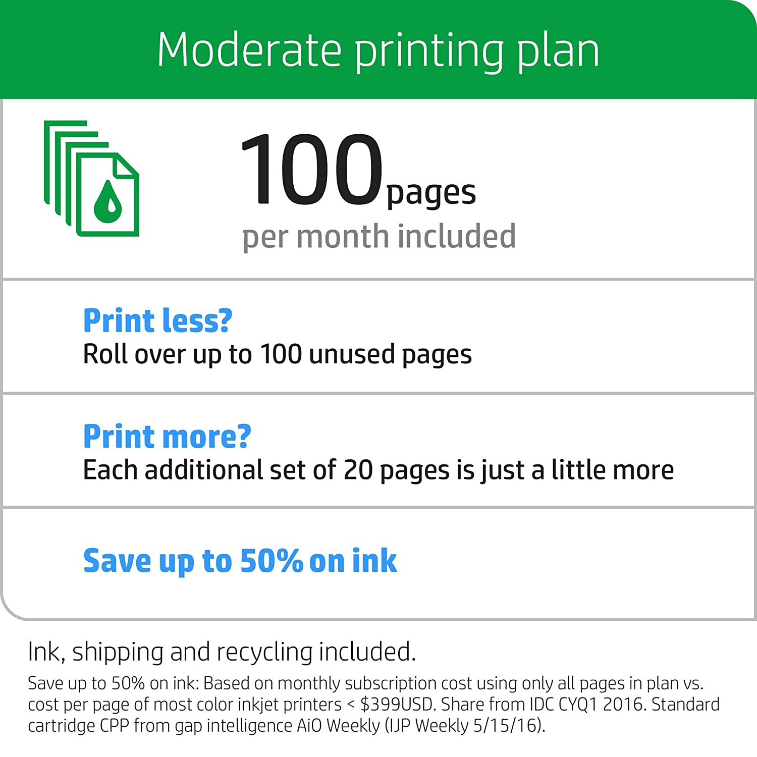 amazon com hp instant ink 1st month enrollment card 100 page