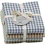 "DII Design Imports Lake House Checks Kitchen Towel Set of 4 Size 18 X 28"" 100% Cotton. Ultra Absorbent, Basket Weave Dishcloths Sets Include 1 Blue Brown Green Lt Blue Machine Wash"