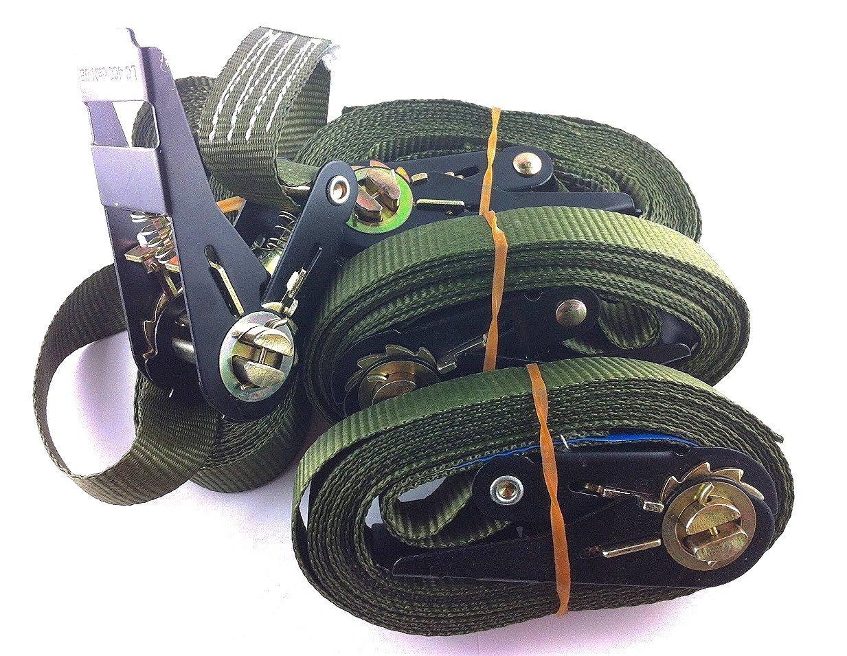 OVK - Set 4 pezzi di cinghie da rimorchio, con cricchetto, lunghezza 4-6 metri, opzionale 800 kg, EN 12195-2 56023