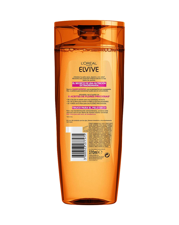LOréal Paris - Elvive Champú Nutritivo Aceite Extraordinario para Pelo Seco - 370 ml