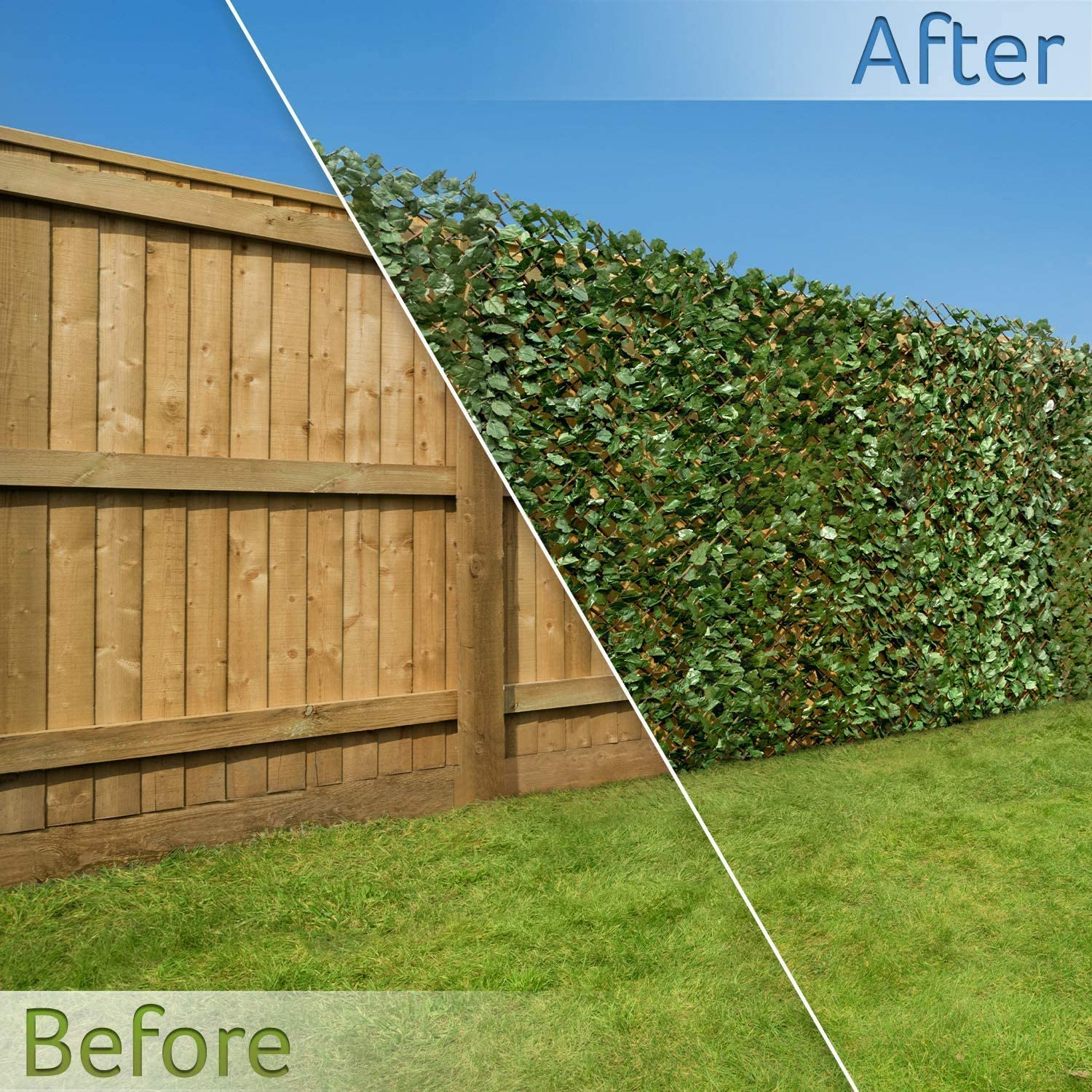 3ft 3 X 6ft 5 Artificial Ivy Leaf Hedge Screening H1m X W2m Outdoor Garden Privacy