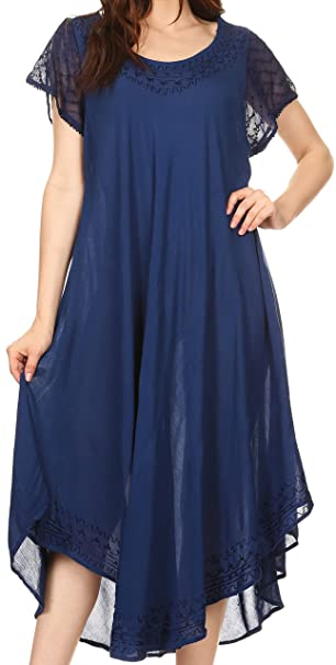 Sakkas 00931 Everyday Essentials Cap Manga Caftan Vestido/Cubrir hasta - Navy - un Tamaño