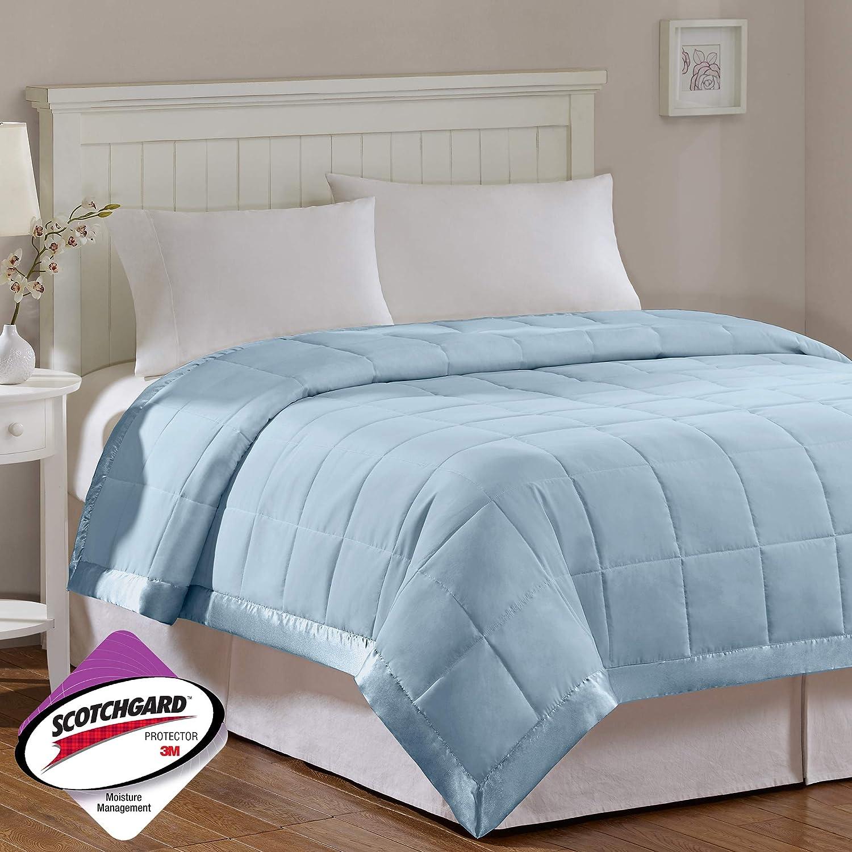 Madison Park Windom Microfiber Down Alternative Stain Resistant Blanket, Twin, Blue