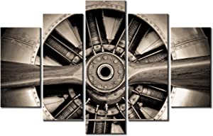 "KLVOS Xlarge 5 Panels Vintage Canvas Art Wall Decor Turbine Plane Propeller Jet Engine Closeup Framed Airplane Decor for Living Room Ready to Hang 40""x60"""