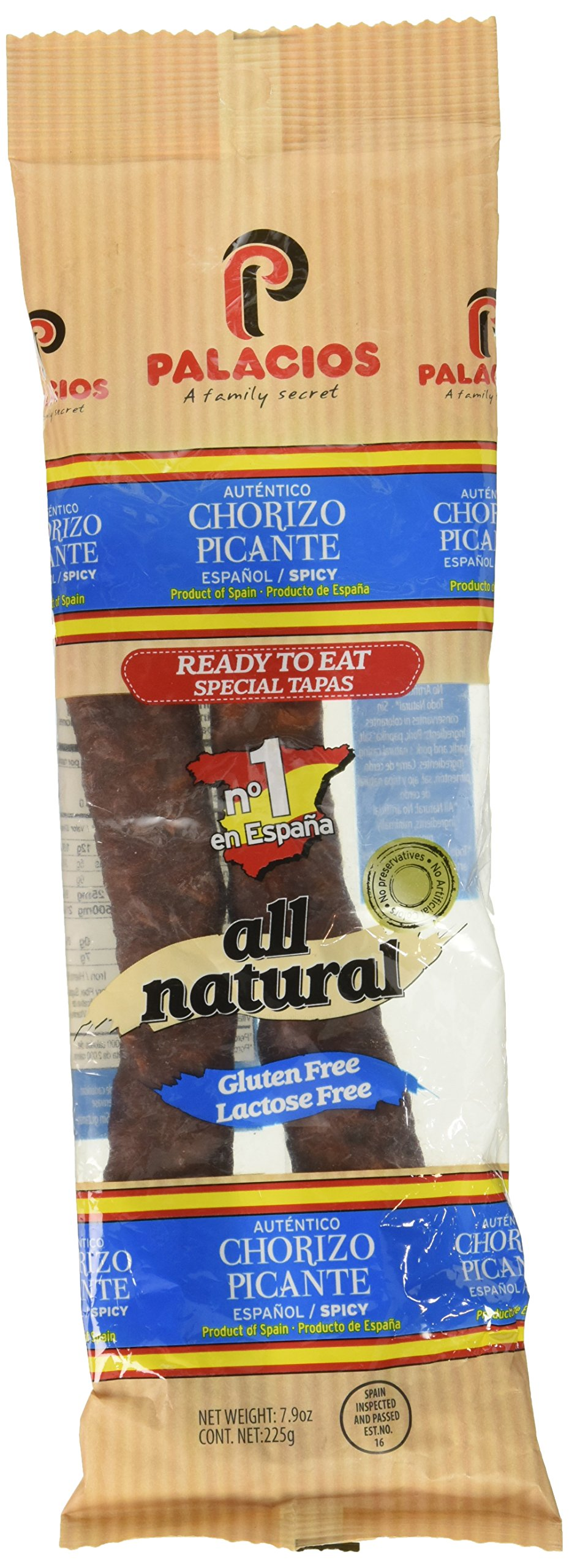 Chorizo Autentico HOT by Palacios. Imported from Spain. 7.9 oz