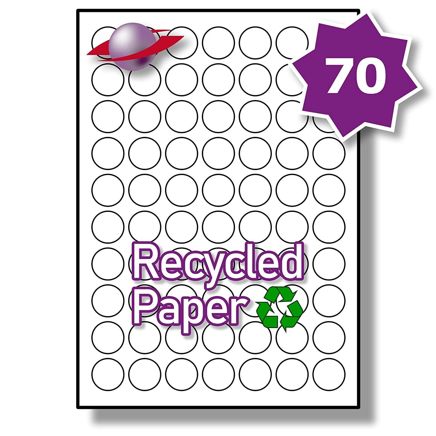 70 Per Sheet 5 Sheets 350 RECYCLED ROUND Labels Label PlanetR Plain White Round Paper 25mm Diameter LP70 25 RRCY Amazoncouk Office Products