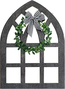 Large Wooden Farmhouse Window Wall Decoration Rustic Farmhouse Decor Cathedral Arch Window Sign with Plaid Bow and Green Wreath for Tiered Tray Shelf Spring Home Wall Decor (Dark Gray)
