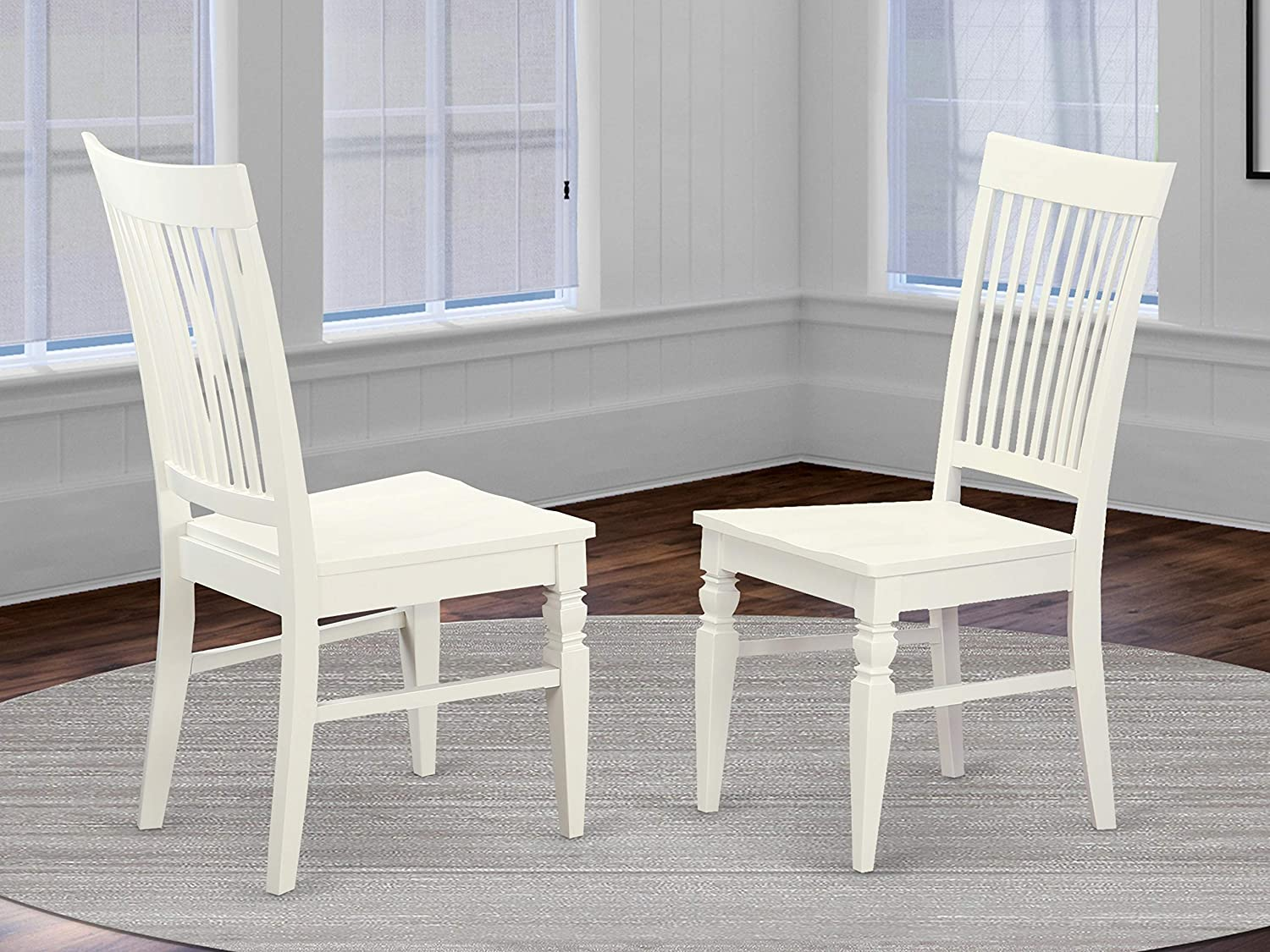 East West Furniture Weston dining chair - Wooden Seat and Linen White Solid  wood Frame dining chair set of 9
