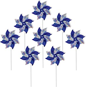 In the Breeze 2762 Blue & Silver Mylar Pinwheel Spinners, 8-Inch, Blue/Silver