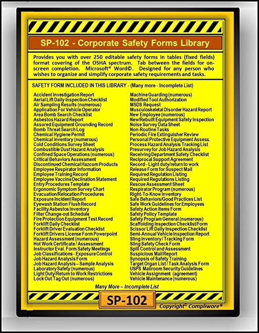 Amazon.com: SP-102 - SAFETY FORMS LIBRARY - OSHA - 29 CFR 1910 ...