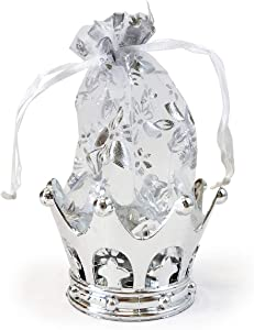 Allgala 12-PK Wedding Party Favor Container Crown with Drawstring Organza Bag, Silver
