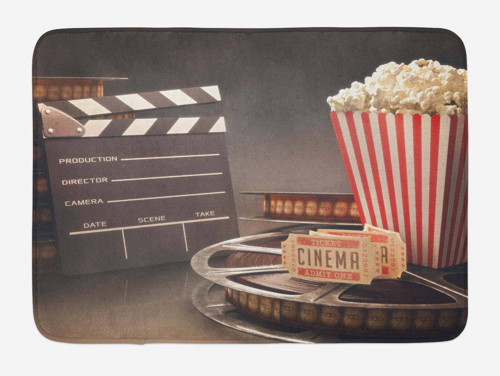 Ambesonne Movie Theater Bath Mat, Old Fashion Entertainment Objects Related to Cinema Film Reel Motion Picture, Plush Bathroom Decor Mat with Non Slip Backing, 29.5 W X 17.5 W Inches, Multicolor