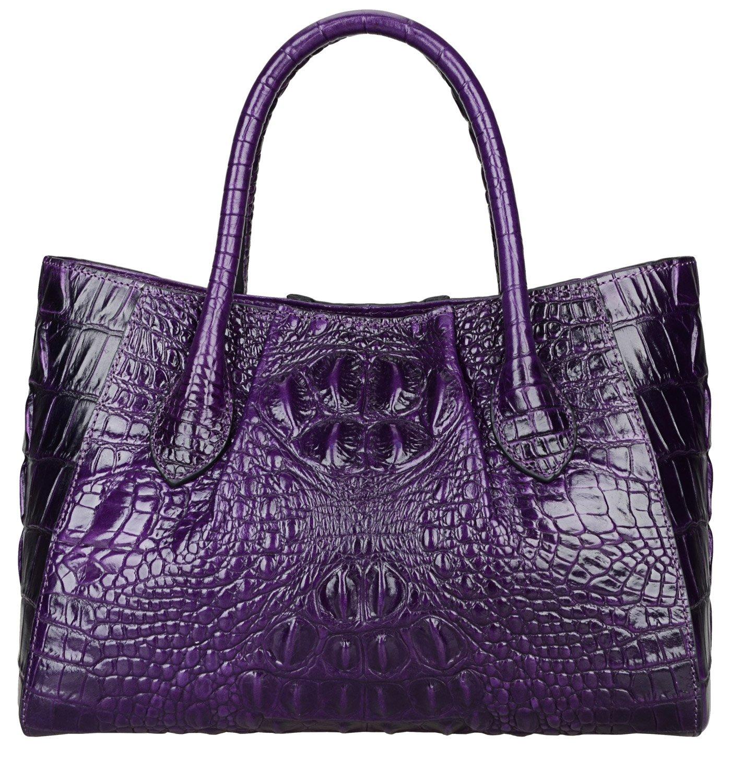 Pijushi Women Embossed Crocodile Bag Designer Top Handle Handbags Holiday Gift 5002A (One Size, 5002A Violet) by PIJUSHI