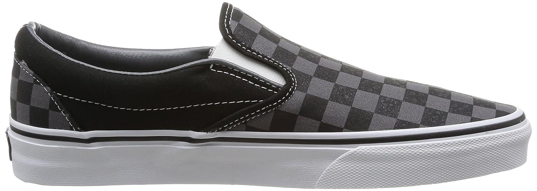 Vans Classic Slip-On VEYEBWW - Zapatillas de deporte de tela unisex, color blanco (black/pewter ch), talla 35