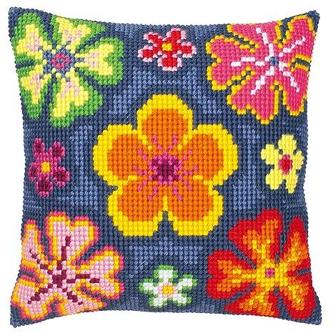 Amazon.com: Vervaco Bright Flower Cross Stitch Cushion ...