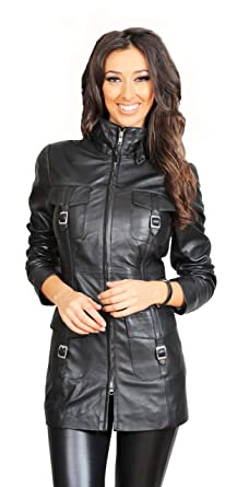 Womens 3/4 Fitted Real Leather Coat Ladies Jacket Carol Black at