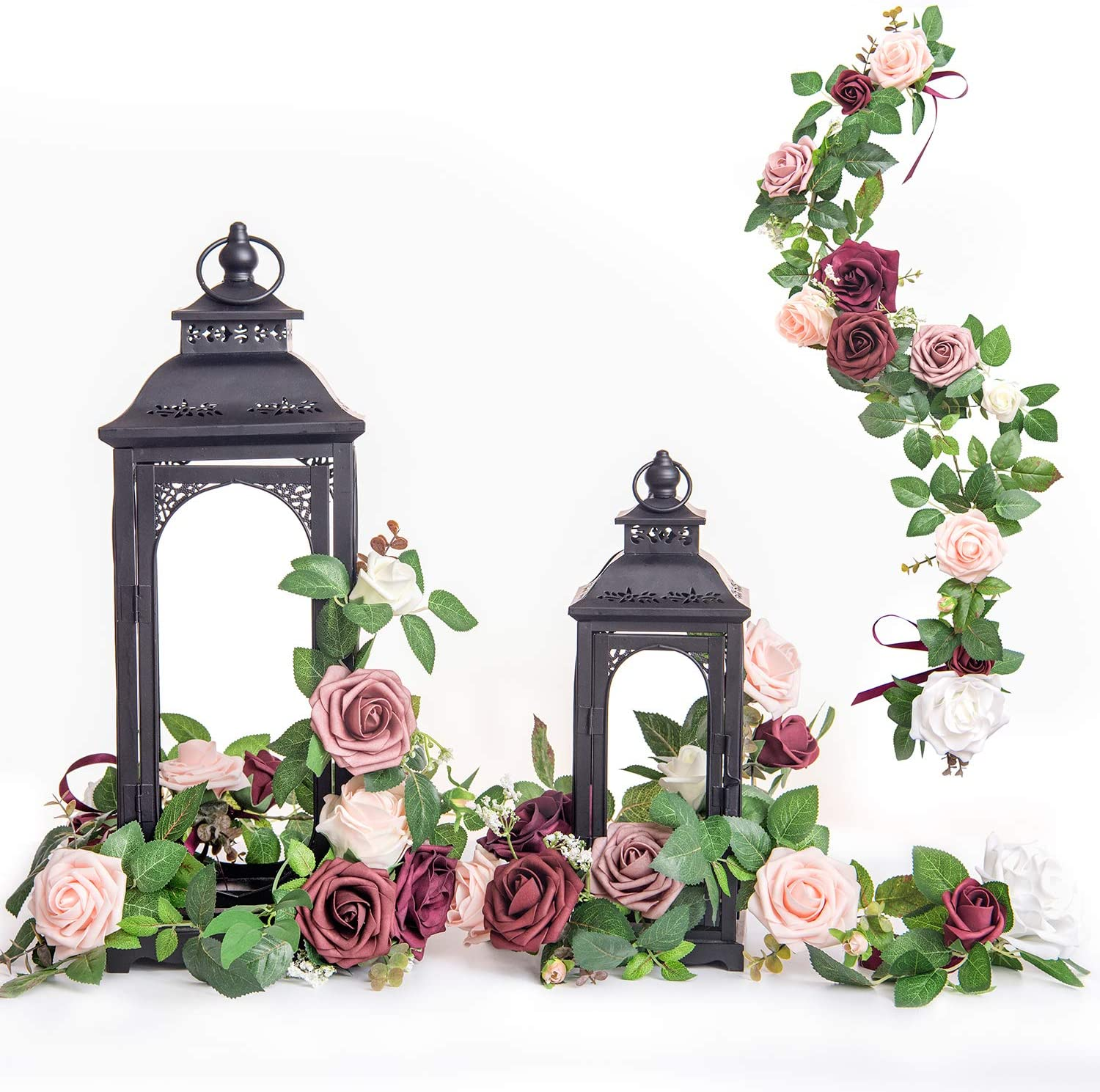 Ling's moment Handcrafted Rose Flower Garland Floral Arrangements Pack of 6 for Wedding Table Centerpieces Floral Runner Lantern Wreath Decorations (Burgundy +Blush)