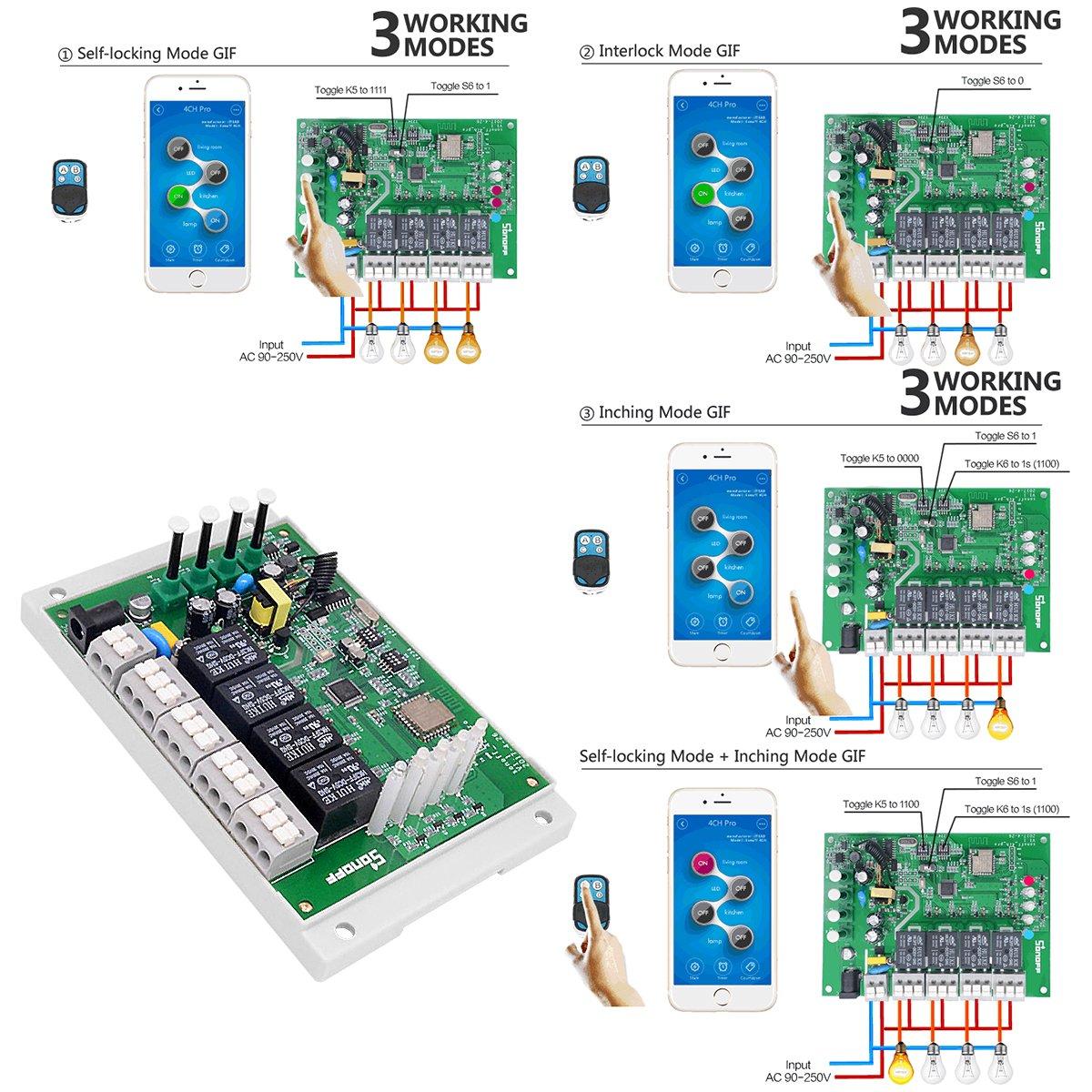 Elastisches Fingergriff Mobiltelefon Sonoff 4CH PRO R2 Smart Switch Home WiFi Funkfernbedienung Schalter 4 Kan/äle Smart Steckdose Kompatibel mit Alexa Google