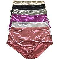 Viola's Secret Women Satin High Waist Brief 6 Pack of Plus Size Plain Satin Underwear