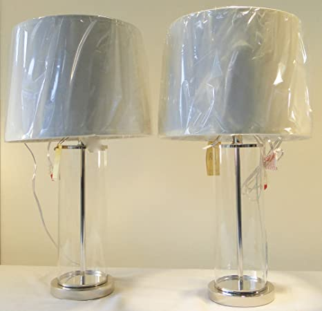 Great Pair Of Two Ralph Lauren Home Payton Glass Cylinder And Antiqued Silver  Base Table Lamps With
