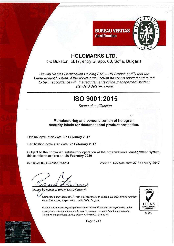 250 St/ück Garantiezertifikat Etikettenetiketten Sicherheitsaufkleber 32 x 15 mm ITALIAN TEXT