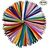 Invisible Zipper, AIEX 60Pcs 11-Inch Nylon Coil Zippers Bulk for Sewing Crafts (20 Colors)