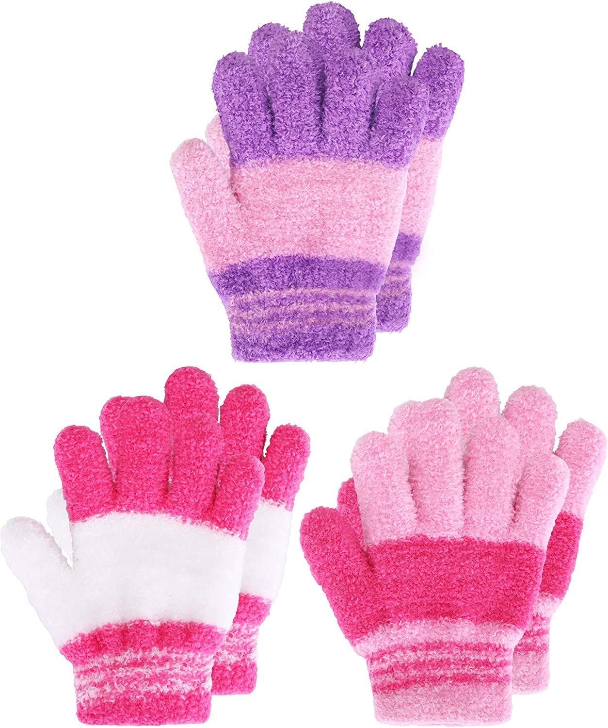 Kids Gloves Full Fingers Knitted Gloves Warm Mitten Winter Favor...