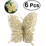 """Tinksky 6Pcs Christmas Butterfly Christmas Decorations Christmas Tree Ornaments Wedding Party Decorations 3""""/8cm (Gold)"""