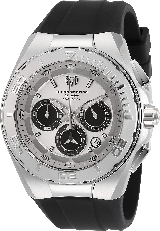 Technomarine Men s Cruise Stainless Steel Quartz Watch with Silicone Strap, Black, 22 Model TM-115345