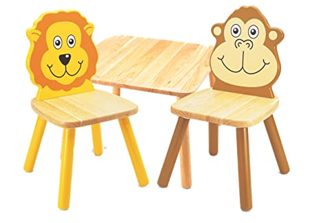 Pintoy Wooden Childrens Furniture Set Square Table with Lion ...
