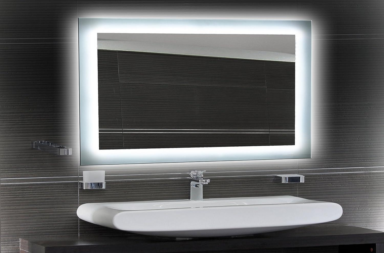 Bilderdepot24 Beleuchteter Badspiegel LED Spiegel Badspiegel Beleuchteter Wandspiegel mit Beleuchtung - 120x70 cm O-LED 621965