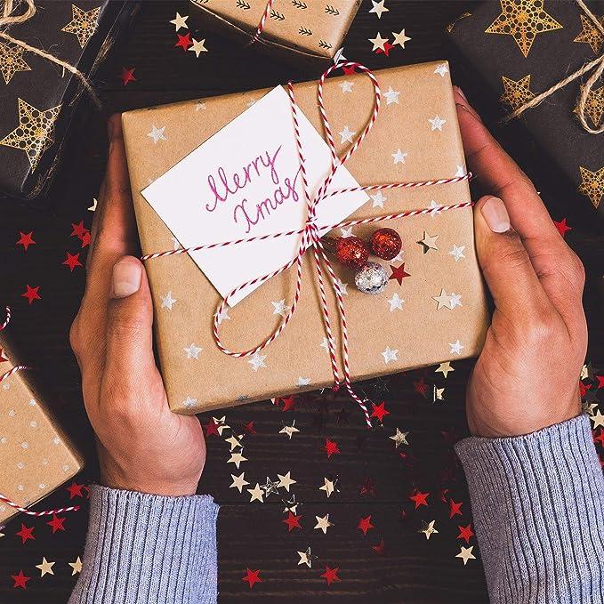3 Rollos de Cord/ón de Algod/ón de Macram/é de Navidad Cuerda de Macram/é Natural de 3 mm x 328 Feet Suministros de Macram/é con Cintas Doradas Cuentas Anillos de Madera para Manualidades Navide/ñas