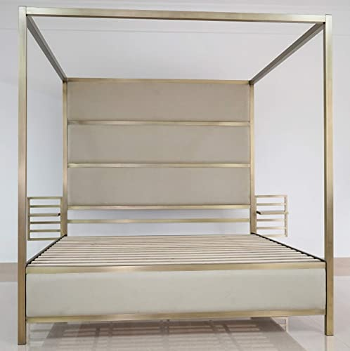 Bombay B1005QB2511 SOHO Metal Canopy Queen Bed with Adjustable Floating Nightstands, Brass Cream
