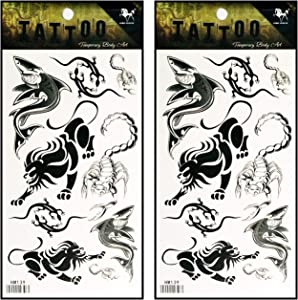 Tattoos 2 Sheets Lion Scorpion Lizard Shark Animal Waterproof Temporary Fake Tattoo Stickers Body Art Removable for Men Women