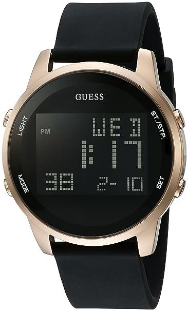 Guess Hombres de Negro y Tono Dorado Digital Cronógrafo Reloj: Amazon.es: Relojes