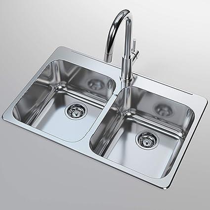 Double-Basin Stainless Steel Topmount Sink - Kitchen ...