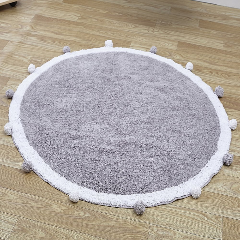 Wonder Space Handmade Round Nursery Rug - Cute Baby Crawling Mat, 100% Cotton With Pom Poms Design, Best Play Mat For Kids Room & Teepee Tent Decor (Grey/White)