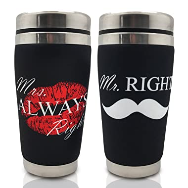 Mugzie Couple Coffee Mug Set-Mr Mrs Wetsuite Cover-Bridal Shower Wedding Newly Weds Engaged Bride and Groom Husband and Wife Gifts Set 16 oz