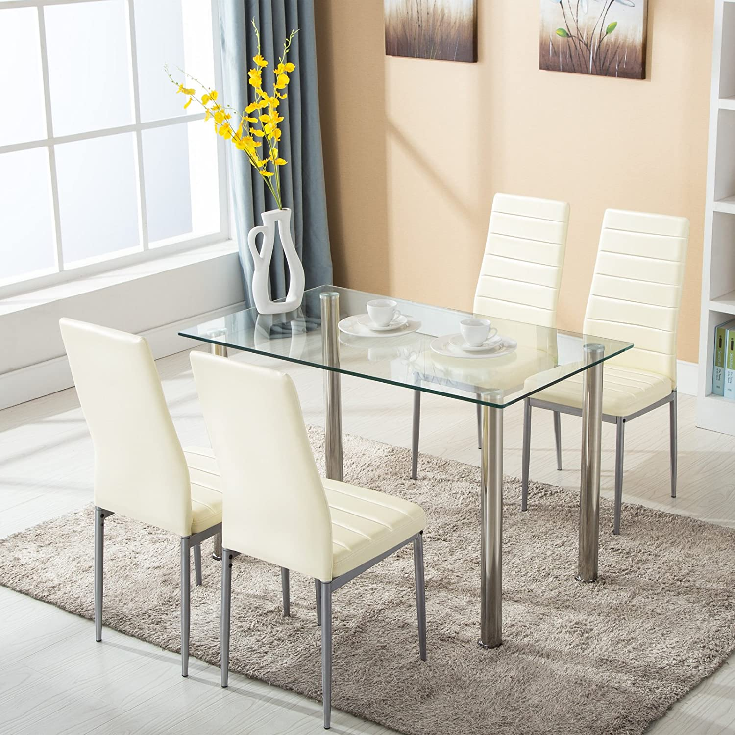 Mecor 5 Piece Dining Set, Glass Kitchen Table Set with 4 Leather Chairs Metal Legs Dining Room Kitchen Furniture,Light Yellow