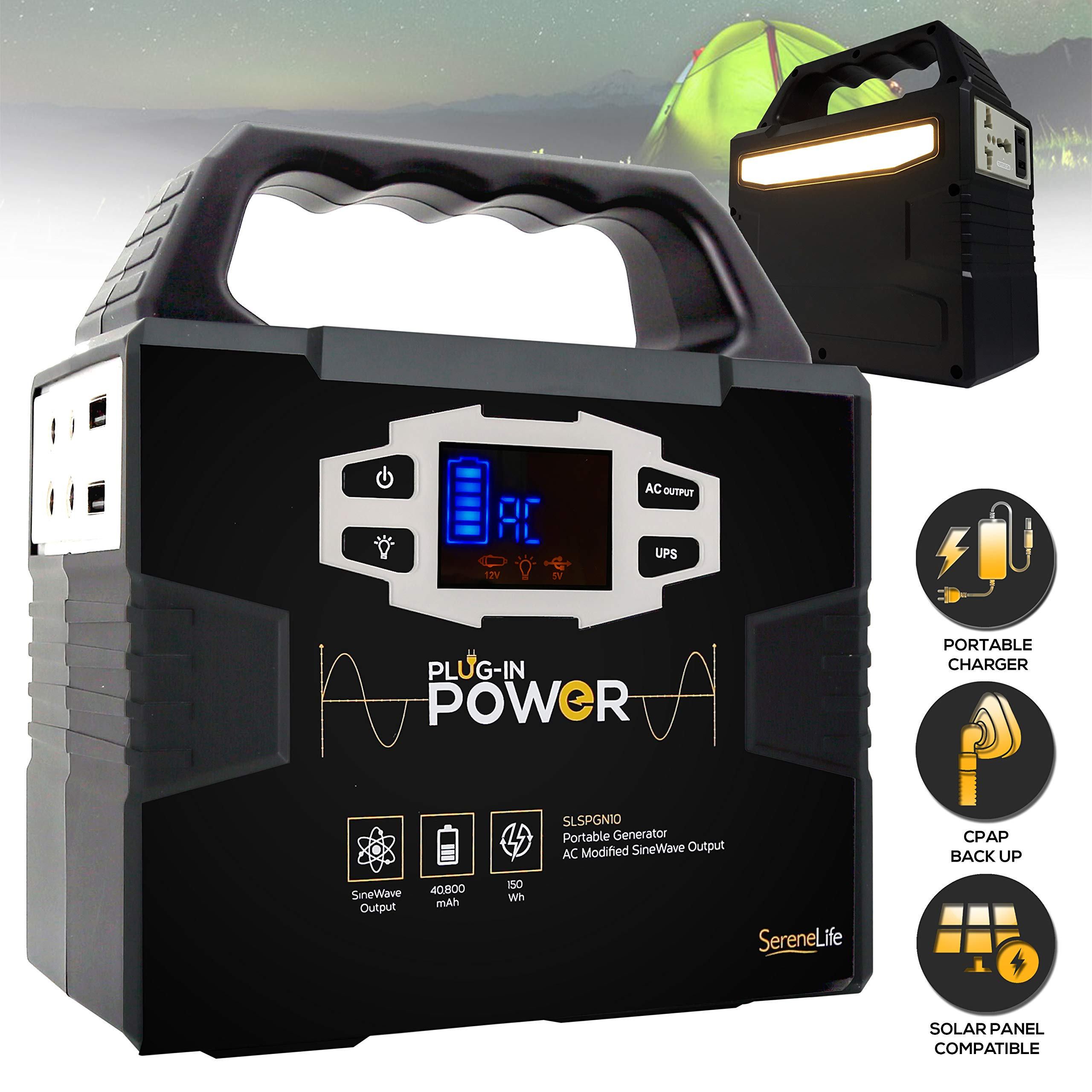 SereneLife Portable Generator, 150Wh Power Station, Quiet Gas Free Power Inverter, CPAP Battery Pack, Charged by Solar Panel/Wall Outlet/Car with 110V AC Outlet,3 DC 12V, USB Port by SereneLife