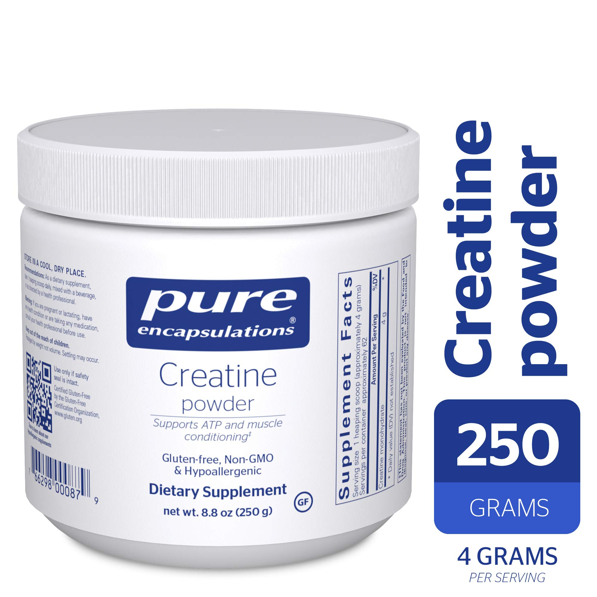 Pure Encapsulations - Creatine Powder - Hypoallergenic Strength and Conditioning Support Formula for Athletes* - 250 Grams by Pure Encapsulations