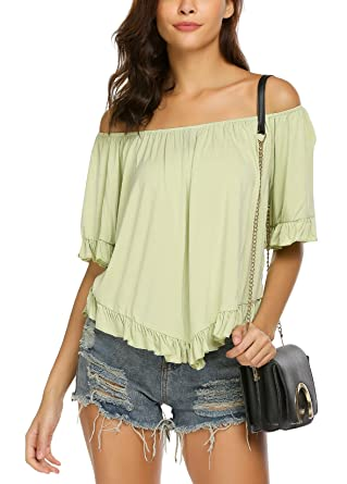 28286155b73 Women's Top Off The Shoulder Loose Casual Ruffle Tunic Blouse Shirt Green  Tea S