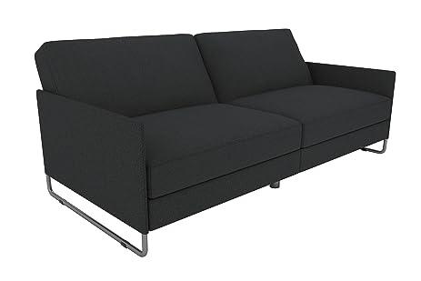dhp pembroke convertible futon with modern design   grey linen amazon    dhp pembroke convertible futon with modern design      rh   amazon