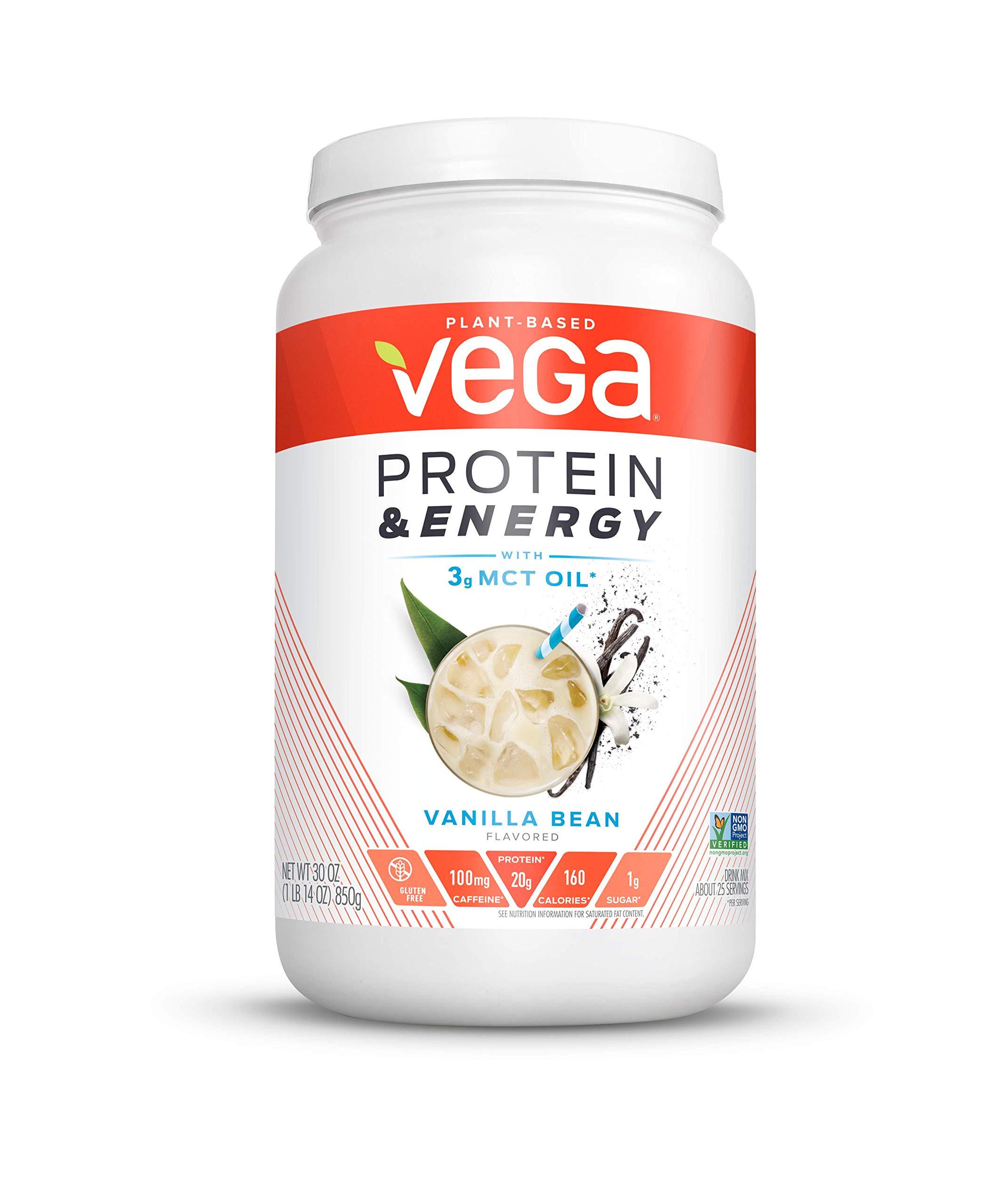 Vega Protein & Energy Vanilla Bean (25 Servings, 30 Ounce (1 Count)) - Plant Based Vegan Non Dairy Protein Powder, Gluten Free, Keto, MCT oil, Non GMO by VEGA