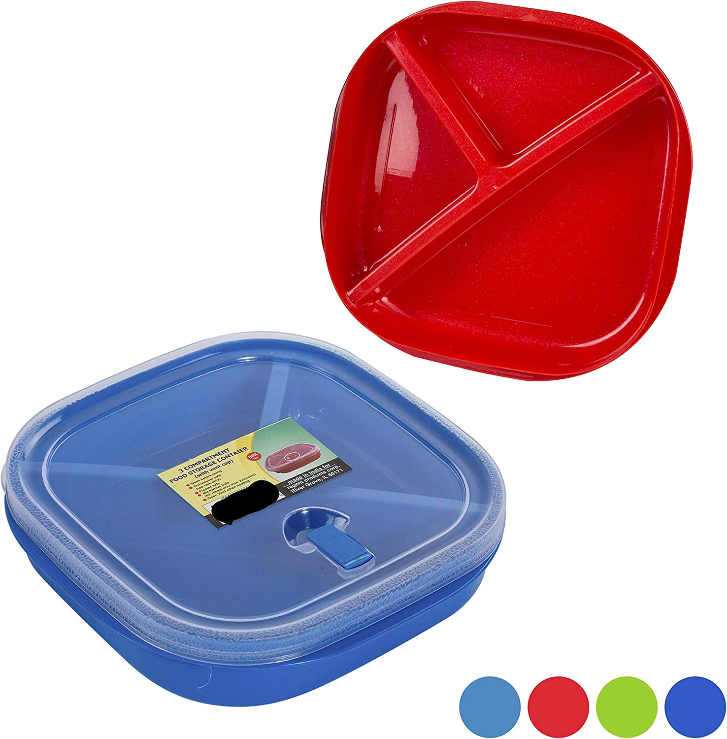 (Set of 4) Microwave Food Storage Tray Containers - 3 Section/Compartment Divided Plates w/Vented Lid - Assorted Colors